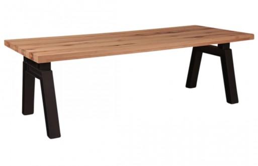 Tisch-hell braun-rustikal Eiche-Eisengestell-Massivholz-Esstisch-1