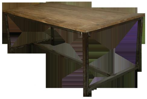 Esstisch-Massivholz-Eisengestell