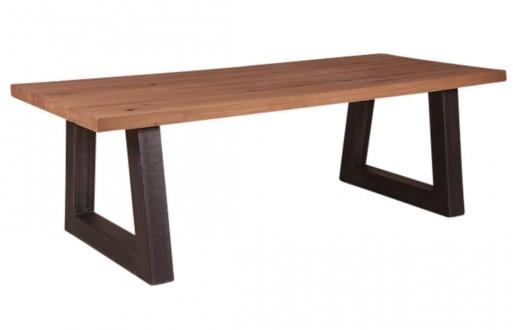 Tisch-natur braun-rustikal Eiche-Eisengestell-Massivholz-Esstisch-1