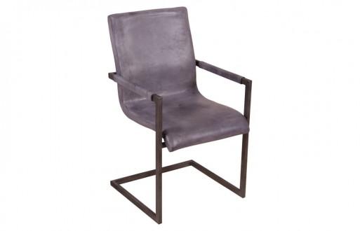 """Freischwinger-Stuhl in grau aus Echtleder """"Blackpool"""""""