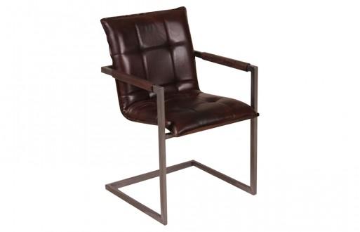 """Freischwinger-Stuhl in dunkelbraun aus Echtleder """"Colombus"""""""