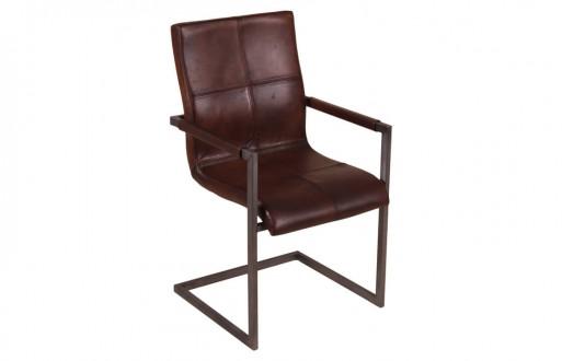 Freischwinger-Stuhl-dunkelbraun-Qualitätsleder-Armlehne-Manchester-Titelbildansicht-sto781-db