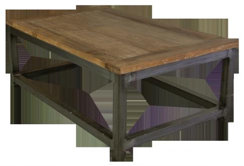 Couchtisch-Massivholz-Eisengestell