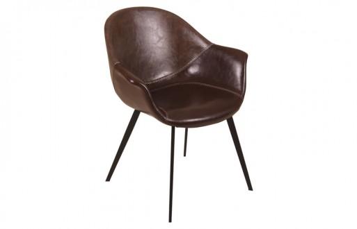 """Leder-Stuhl in dunkelbraun aus Echtleder """"Lana"""""""