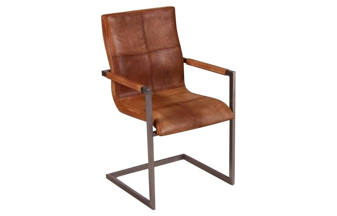 leder freischwinger stuhl cognac massive. Black Bedroom Furniture Sets. Home Design Ideas