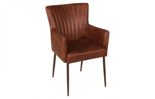 Lederstuhl-hellbraun-Armlehnstuhl-Echtleder-Designstuhl-Titelbildansicht