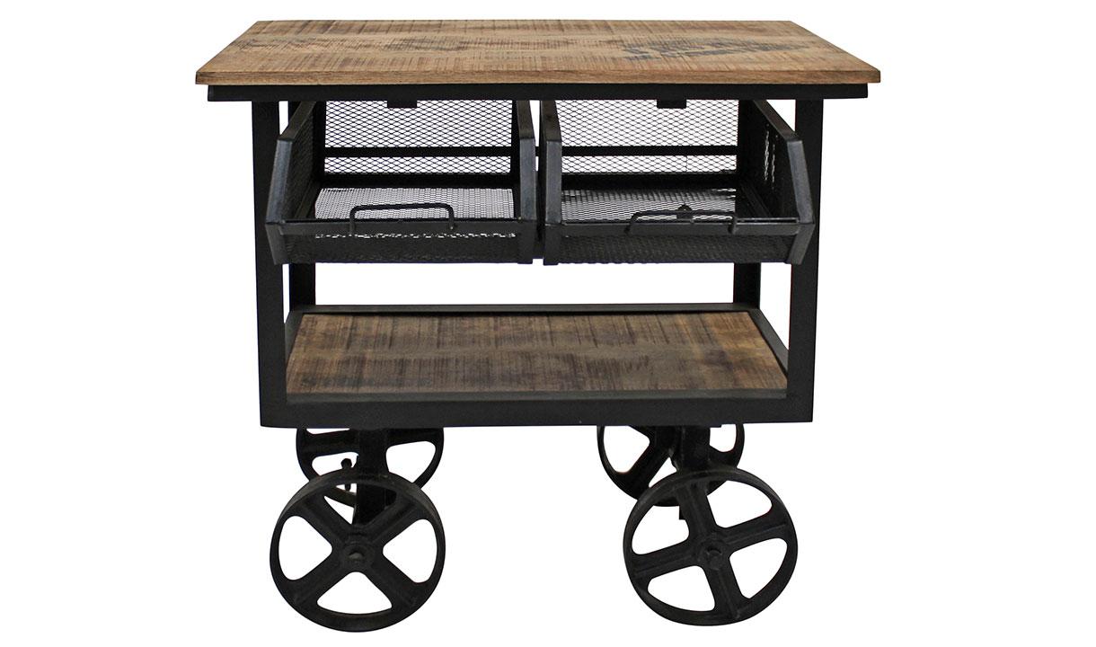 factory anrichtetisch mit 2 schubladen massiv bedruckt auf rollen 6348. Black Bedroom Furniture Sets. Home Design Ideas
